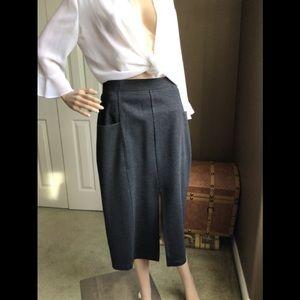 Vivian Wong Mid Calf Long Charcoal Skirt